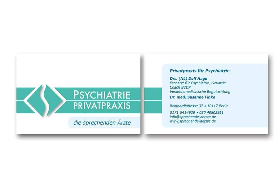 Design Visitenkarten Psychiatrie-Privatpraxis Wiemer-Arndt
