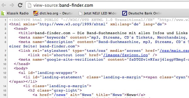 Quellcode Website